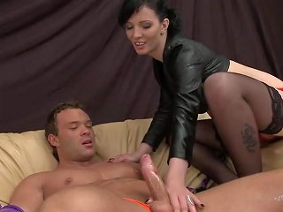 Cheap Dominatrix Quick On The Go Dominates Muscular Guy