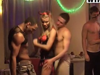 Hot Blonde Getting Smashed In A Halloween Party Threesome