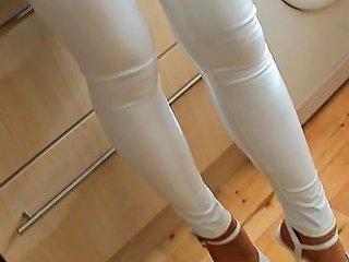 Amazing British Babe Natalie In Shiny White Spandex