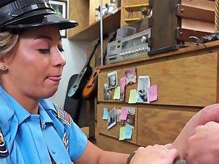 Beautiful Latina Cop Fucking A Big Pawn Shop Cock For Cash