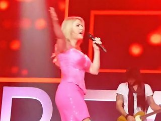 Beatrice Egli Pink Mini Dress Upskirt Pussy On Stage