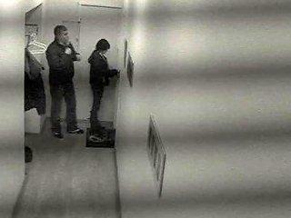 Mischievous Brunette Boldly Bangs In A Public Hallway