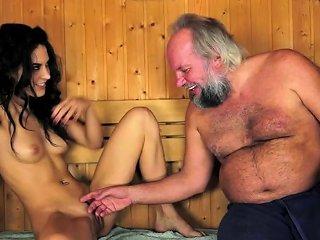Beautiful Teen Fucked By Grandpa In Sauna Drtuber