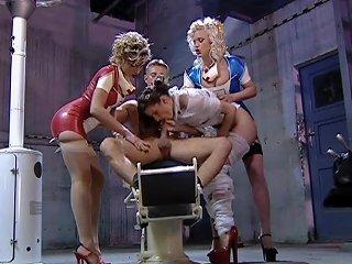 Three Sexy Nurses Share A Hard Prick In A Basement