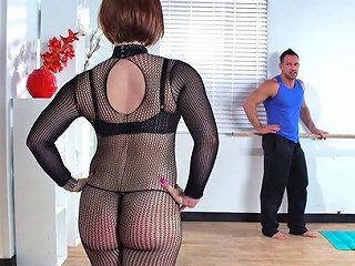Busty Mom In Fishnet Bodystockings Receives A Hardcore Pussy Pounding