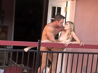Sexy Blonde Babe On The Balcony Riding Her Boyfriend's Dick