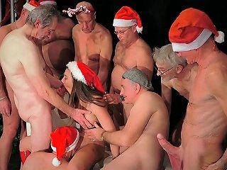 Eight Seniors Get Pervert And Gangbang A Tempting Santa Dressed Lady Porn Video 651