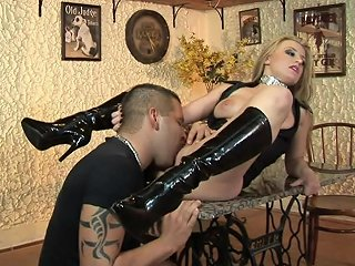 Slutty Blonde In High Boots Gets Fucked Hard On A Table