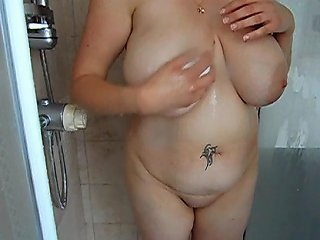 My New Lover Soaping Up Her Natural 34hh Tits In The