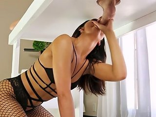 Black Haired Sweet Bitch In Sexy Fishnets Sucks Big Cock Sitting Under The Milking Table