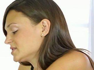 Black Haired Sweet Bitch In Hot Bodysuit Sucks Stiff Dick Through Milking Table