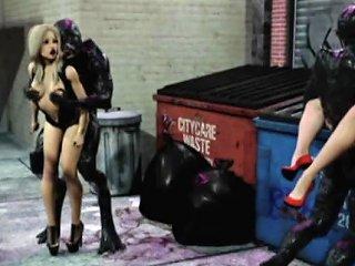 3d Brutal Aliens Destroying Girls