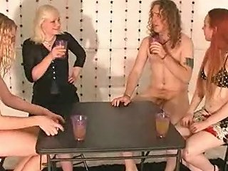 Long Haired Stud Lose Clothes At Poker With 3 Chicks