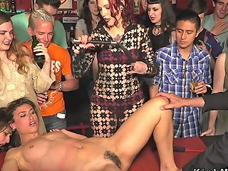 Slaves Whipped And Fucked In Public Bar