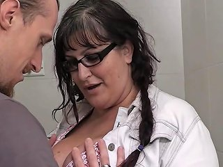 Horny Bbw Tourist Gets Dicked In Public Restroom Porn F4