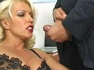 Blonde Milf In Black Stockings And Red Lipstick 197 Smyt