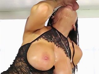 Milking Table Sloppy Sucking Cock With Milk
