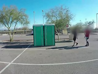Chubby Girl Suck Athletes Dick In Public After Practice In A Porta Potty Gloryhole
