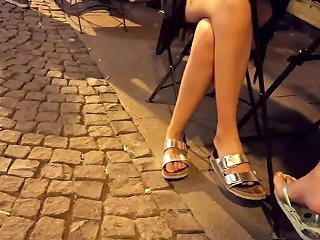 Girls Sexy Crossed Legs Sexy Feets At Cafe Free Hd Porn 11