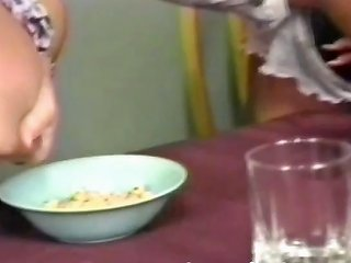 Three Lactating Lesbians Are Milking Their Tits At The Table