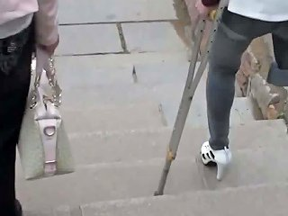 Amputee Chinese Girl Down Stairs With Crutches Hd Porn 00