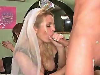 Blonde Bride To Be Sucking Stripper Cock For The Last Time