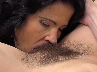 Brunette Lesbian Milf Licking A Hairy Mature Pussy