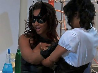 Masked Brunette Has Group Fuck Session In A Chemistry