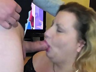 Cum Gargling Cheating Housewife Sucking Cock
