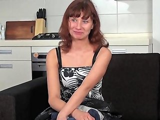 Redhead French Teen With Green Eyes Strips And Shows Shaved Pussy