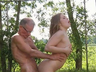 Tonic Grandpa Fucks Redhead Sweetie In The Forest With His Hard Cock