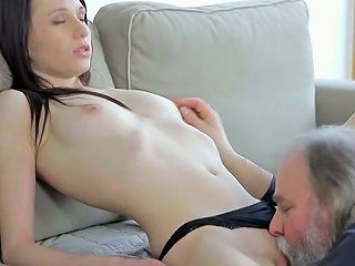 Thirsty Old Guy With Grey Beard Eats Tasty Wet Pussy Of Charming Teen Chick