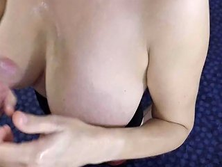 Incredible Oily Titfuck And Handjob Covering Huge Natural 30 H Tits In Cum