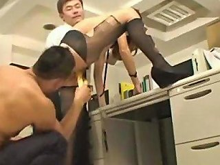 Office Lady With Collar Oil On Body Stimulated And Fucked With Toys Giving Blowjobs For 2 Guys In The Office