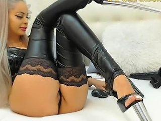 Queen In Latex Stockings And Fetish Shoes Smokes And Plays With Pussy