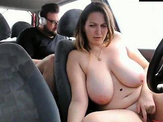 Woman With Big Tits Masturbates In A Car Drtuber