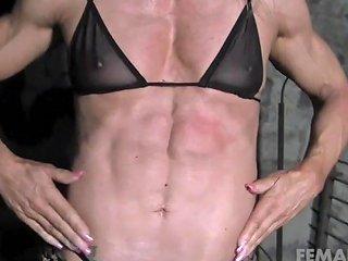 Female Bodybuilders Muscles Strain Against Chains Porn 1b