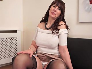 Mature Sweater Girl With Rock Hard Nipples Flashes Her Pussy At You