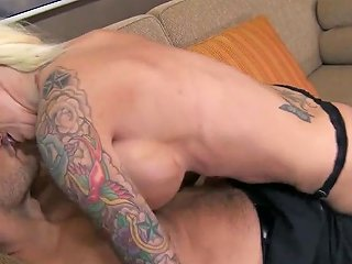 Stunning Tattooed Blonde Lolly Ink With Huge Balloons And Tight Ass Gives Memorabel Blowjob Session To Muscled Ramon Befuck Com