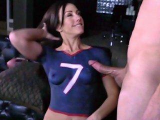 Sporty Girl In Body Paint Fucks The Football Fan