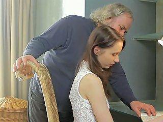 Cute Euro Teen Alina Is Seduced By Old Bearded Gentleman