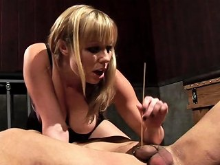 Sadistic Female Domme Tortures Her Slave With Urethra Play