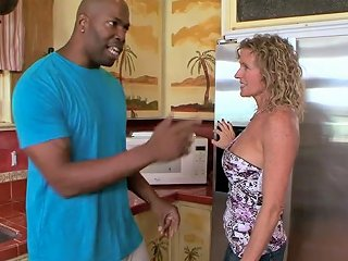 Curly Haired Ordinary Housewife Gets Fucked By Bbc Owner In The Kitchen