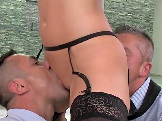 Top Babe Fucked By Two Males In Wild Trio