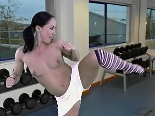 Sexy Aerobics Workout With A Nice Striptease