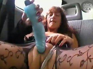 Old Ugly Slut Pokes Her Swollen Pussy With Big Masturbator