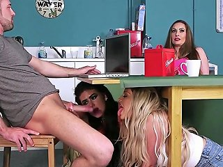 Cockhungry Cfnm Teens Giving Double Blowjob