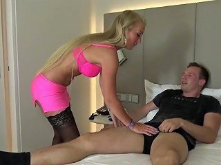 Blond German Amateur Teen Wear High Heels And Black Stockings And Get Fucke