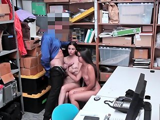 Security Officer And Teen Thieves Hot Threesome