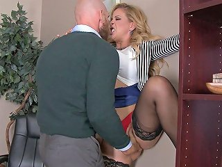 Milf In Lace Top Stockings Bent Over A Desk And Fucked